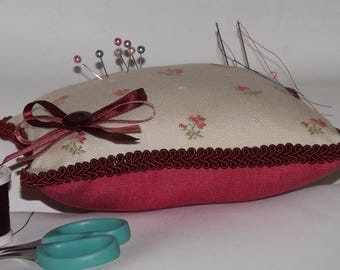 Cream and Pink Fabric Pincushion, Large Square Pincushion, Dressmakers Pincushion