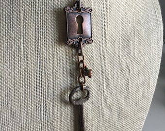 Long key necklace, vintage, found object,