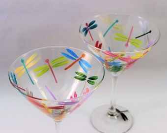 Multi-color dragonflies - hand painted martini glasses - painted dragonfly glasses - set of 2