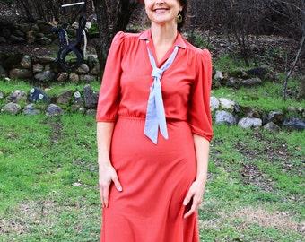 APPLE A DAY - 1970s Secretary Dress Red Pinstripe Joni Blair California Gray Neck Tie Collar Slinky Semi Sheer 1980s Sexy Boho Glam 7 Sm