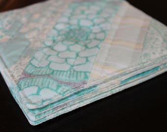Aqua Striped Quilted Coasters - Set of 4