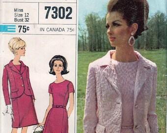 Misses Dress and Jacket .. Designer Fashion UNCUT FF 1960s Printed Pattern Simplicity 7302 Size 12 Bust 32 © 1967 - Mad Men Era