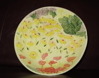 "Yellow Daisies!  Handmade Ceramic wall hanging   5""                                              189"
