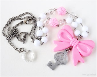 Charmmy Kitty Key Necklace, Beaded Necklace, Bow Necklace, Key Jewelry, Pink, White, Sweet Lolita, OOAK, Stainless Steel