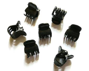 20 pcs - Black Mini hair snap Claw Clips for hair crafts - size 12 mm