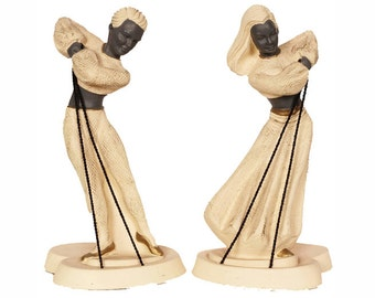Vintage Chalkware Dancers Figurines - Mid-Century Modern  - MCM - Devonware