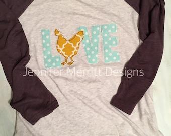 Chicken Love Raglan, Chicken Love, Chicken Shirt