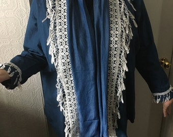 Denim Shirt And Scarf for Ladies