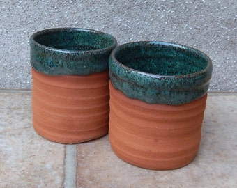 Pair of whisky tumbler or espresso coffee cup wheel thrown terracotta pottery handmade ceramic