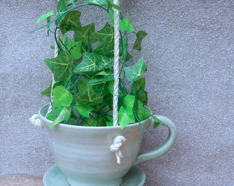 Hanging planter teacup flower pot hand thrown in stoneware ... handmade pottery wheelthrown ceramic