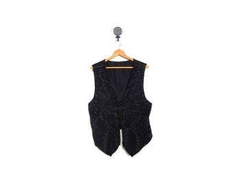 BTS SALE Vintage 90s Black Sequined Silk Cocktail Vest women l xl vestiesteam minimalist glam retro party wear evening wear plus size glam l