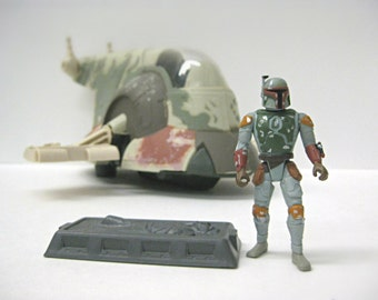 Vintage Star Wars Boba Fett Spaceship Vehicle with Han Solo in Carbonite Action Figures, 90's Slave I Star Wars Toy From Empire Strikes Back