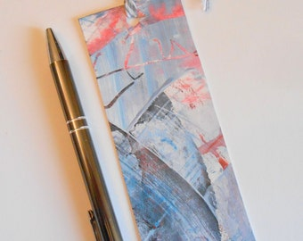 Hand Painted Artsy Bookmark Red White Gray Light Blue