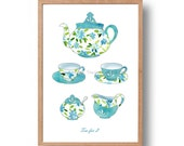 Tea for two Art Print, Nostalgic, Retro  print, Mother's Day,Kitchen art, limited edition, floral, shabby chic, turquoise, lime aqua