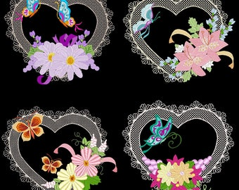 HEARTS A FLUTTER (5inch) - 12 Machine Embroidery Designs Instant Download 5X7 hoop (AzEB)