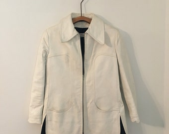 Vintage Abercombie & Fitch White Leather Jacket, 1960s