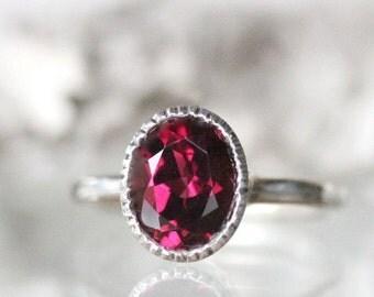 Holidays Sale - Rhodolite Garnet Sterling Silver Ring / Gemstone Ring / Milgrain Detials In No Nickel / Nickel Free  - Made To Order