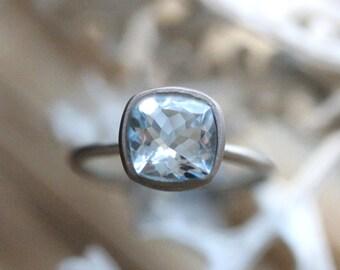 Genuine Aquamarine 14K Gold Ring, Aquamarine Gemstone RIng, Aquamarine Stone, Aquamarine Crystal, Aquamarine Ring, Recycled - Made To Order