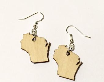Wisconsin Earrings - Wooden State Shape Jewelry - Lasercut Wood Earrings