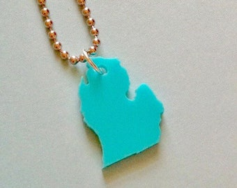 Lasercut Michigan Necklace, State Jewelry in Turquoise Blue, LP of Michigan