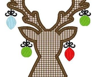 Christmas Reindeer Head Ornaments Machine Embroidery Applique Design