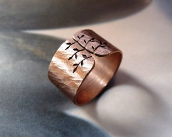 Copper tree ring, spring tree, wide band, metalwork jewelry, statement ring, minimalist, gift idea, Christmas gift, for her, unisex