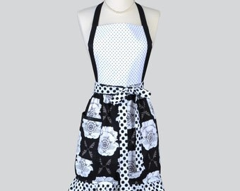 Classic Bib Apron / Black and White Floral Dots with Lots of Ruffled Appeal Ideal to Gift for Her and Personalize or Monogram