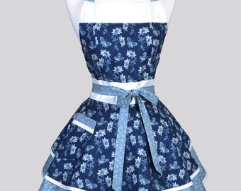 Ruffled Retro Womans Apron - Butterflies and Daises in Denim and French Blue Cute Vintage Style Kitchen Apron to Personalize or Monogram