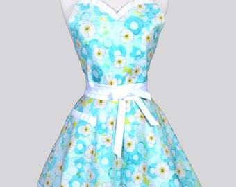 Sweetheart Pin Up Womans Apron - Ocean Blue and Yellow Blossoms Floral Retro Vintage Inspired Flirty Ruffled Kitchen Apron with Pockets