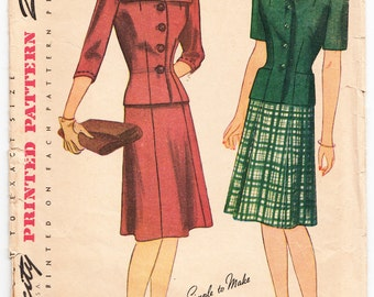 Vintage 1943 Simplicity 4527 Sewing Pattern Misses' Two-Piece Dress Size 14 Bust 32