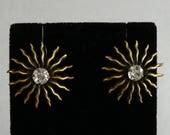 Joseff of Hollywood Vintage Sunburst Starburst Rhinestone Earrings