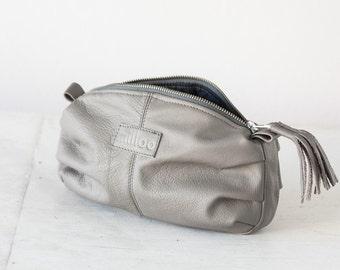 Light grey leather makeup case, cosmetic bag, vanity storage, accessory bag, case, utility bag, zipper pouch- Ariadne makeup bag