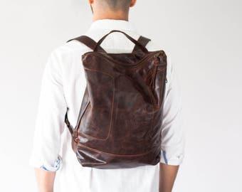 Dark brown leather backpack, simple backpack bag everyday bag backpack laptop 13 back bag-The Minos Bag