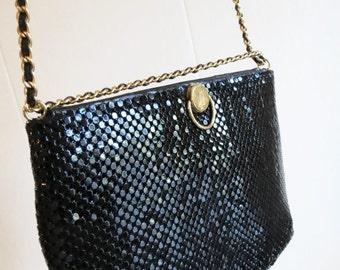 Holiday 2016 Sale Vintage 80's Black Metal Mesh Chain Mail Handbag