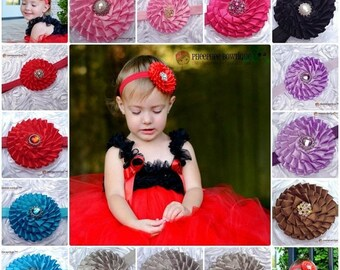 30% OFF SPRING SALE Set of 2 Flower Headbands, U Choose Colors, Infant Headband, Newborn Headband, Baby Headband, Photo Props, Flower Girl,