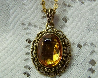 Amber Topaz Necklace - Jewel Pendant - Victorian Filigree - Czech Glass Stone - Antique Gold Plated - Autumn colors