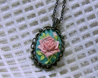 Pink Rose Cameo Necklace necklace, Victorian Rose, Pink and Turquoise Rose pendant, Soft Pink, Antiqued Silver - Shabby Chic - Cottage Rose