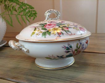 Haviland Limoges Fine China Tureen w/ Lid Moss Rose Pattern - Vintage - Anchor Cable - Gold Accents