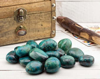 Polished Chrysocolla Tumbled - Stone for Self Power
