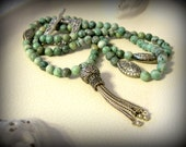 Extra long metal tassel necklace of Ching Hai Jade
