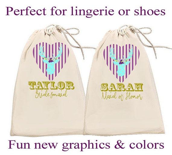 Bridesmaid Bags / Bridesmaid Gifts / Personalized Shoe Bag / Personalized Lingerie Bag / Cotton Travel Bag / Bride Tribe bag / drawstring