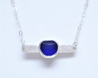 Sea Glass Jewelry - Sterling Cobalt Blue Sea Glass Bar Necklace