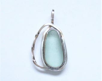 Sea Glass Jewelry - Sterling Lignt Blue Sea Glass Pendant