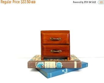 On Sale Vintage Wooden Two Drawer Box, Miniature Chest of Drawers, Knotty Pine Small Storage Box