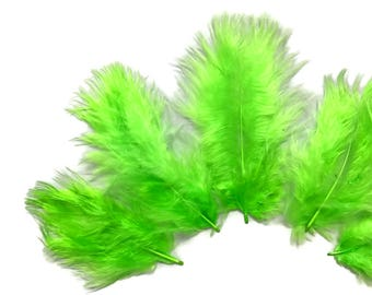 1/4 lb - Chartreuse Green Turkey Marabou Short Down Fluffy Loose Wholesale Feathers (bulk) : 4251