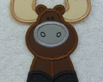 Moose Patch Fabric Embroidered Iron on Applique Patch Ready to Ship