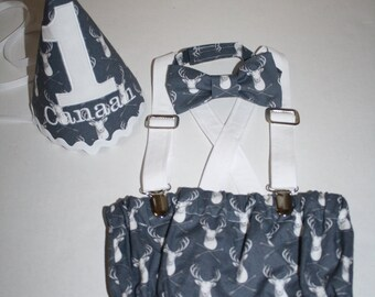 baby boy first birthday outfit deer arrows tribal cake smash outfit for boy gray navy 1st birthday boys diaper cover bow tie birthday hat