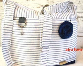Purse or Tote bag in Navy Blue Ticking Stripe, waterproof base -Lightweight and durable! by Darby Mack made in the USA