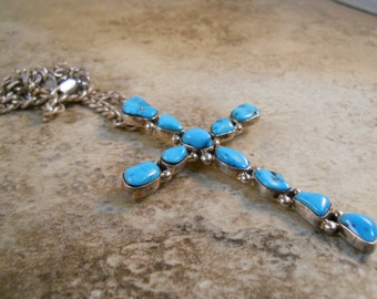 "Large Beautiful Turquoise Sterling Silver Cross with an Italian sterling silver 20"" chain"