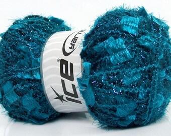 Ice Angelo #41305 Teal Blue Metallic Butterfly Eyelash Yarn LG 100gr skein 109 yards